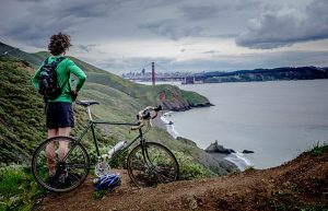 A mountain biker's view of San Francisco from Marin County